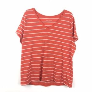 Ava & Viv Striped Short Sleeve V Neck Shirt Top